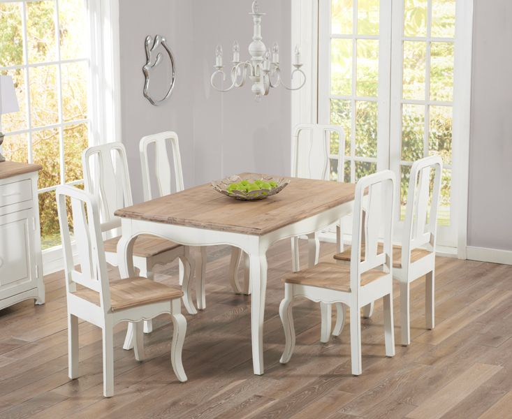 Buy the Parisian 130cm Shabby Chic Dining Table with Chairs at Oak Furniture Superstore