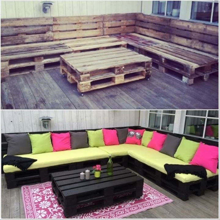 MYO Patio Lounge Set out of repurposed Pallets. Yet another fabulous upcycle project!