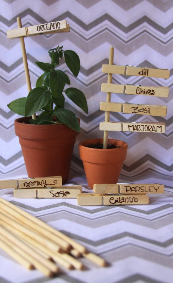 Wood Burned Clothespin Herb Markers set of 9 by AHawkAndAHoneyBee, $18.00