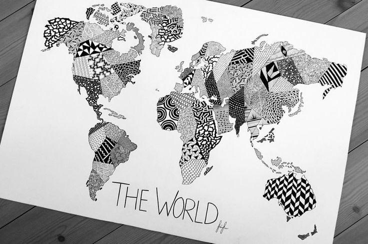 https://www.instagram.com/simonestubgaard/ 70x100cm world map drawing. #world #worldmap #art #patterns #artforsale #artist #personalizedart #grammasters3 #artist #simonestubgaard