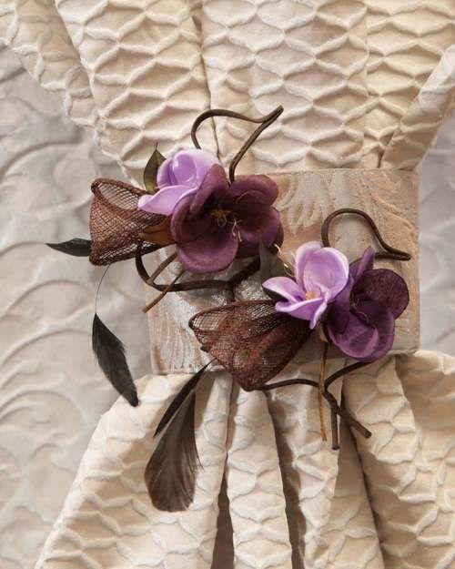 Perdele și draperii la comandă :: Flori decorative pentru perdele si draperii :: Spring :: Accesoriu de prindere floricele cu fundite plasa, mov