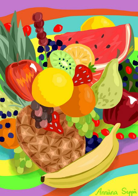 Hoksotin | A free digital jigsaw puzzle of cheerfully colored + delicious fruits / Ilmainen digitaalinen palapeli virkeän värikkäistä + herkullisista hedelmistä