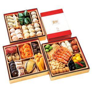 謝朋殿伝統の味で作る中華フルコースおせち。【中華 三段重(フカヒレスープ付)(W255)<関西地域お届け>】