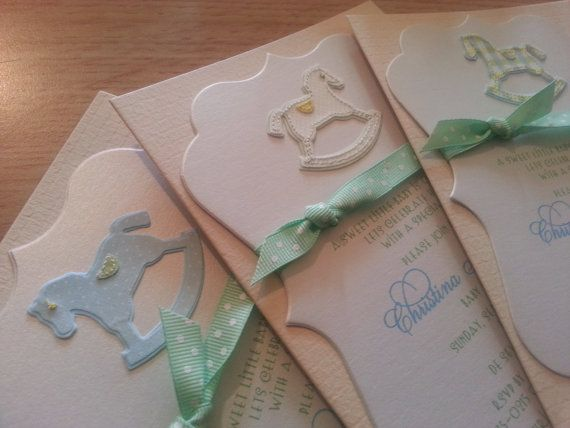 Rocking Horse Invitation Set of 10 by theinspirednote on Etsy