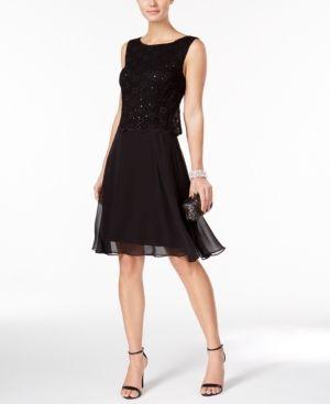 Connected Petite Sequin Dress - Black 14P