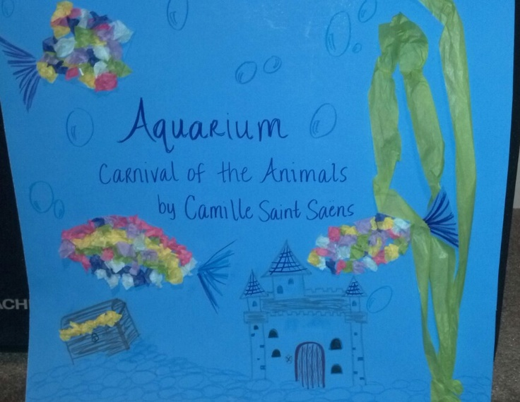 Lesson plan for Aquarium from Carnival of the Animals for 1st and 2nd.   Connected to Rainbow Fish, use of parachute to show form & high/low, cute Art project.