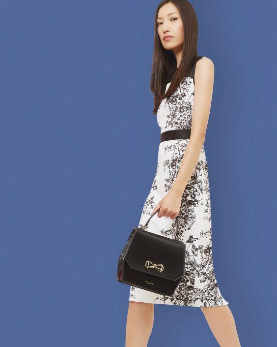Illustrated Elegance midi dress - Black | Outlet | Ted Baker UK