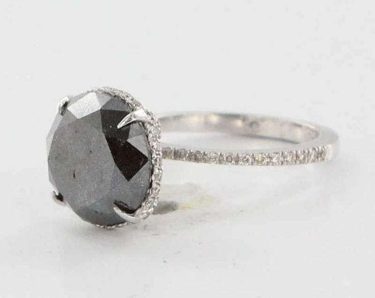 Estate 14 Karat White Gold 5ct Black Diamond Engagement Ring Fine Bridal Jewelry 5.75