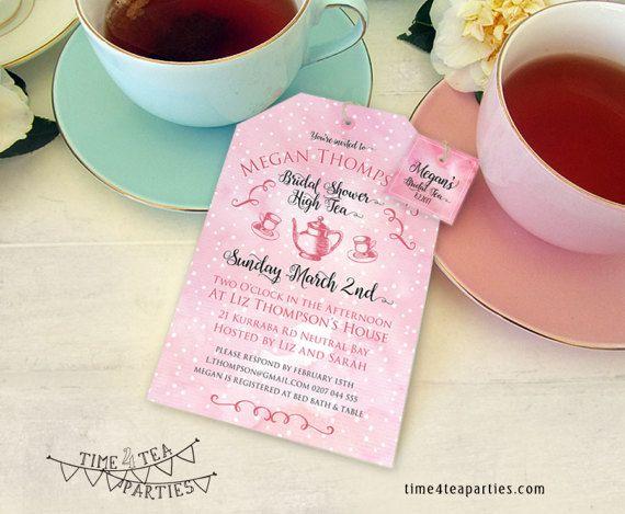 Watercolour polka dot Tea Bag Tea Party by Time4TeaParties on Etsy