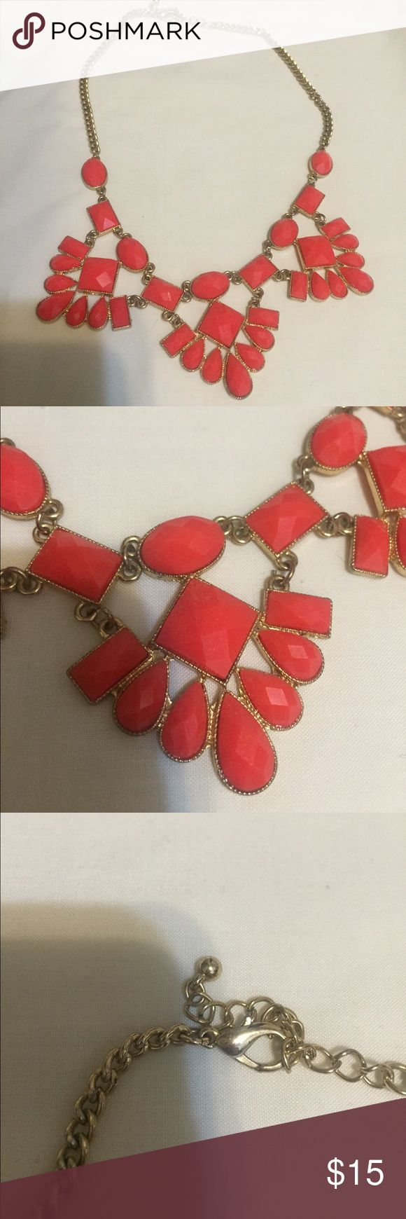 Baublebar Coral Statement Necklace Red BAUBLEBAR statement necklace. Color is bright, perfect for summer to dress up a simple shirt or dress. Gold detailing and chain.  Very light and easy to wear! Baublebar Jewelry Necklaces