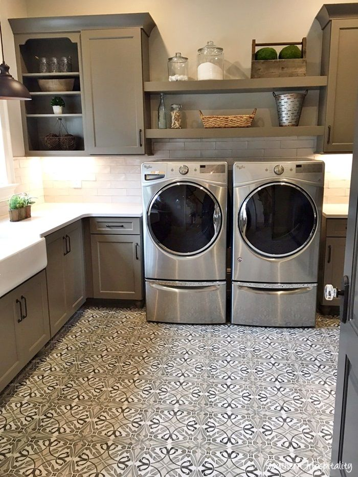 Cute gray laundry room.  #laundryroom homechanneltv.com