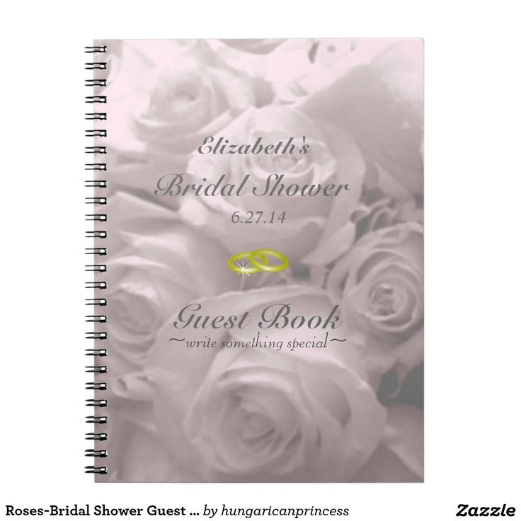 bridal shower invitations with recipe card attached%0A RosesBridal Shower Guest Book Notebook