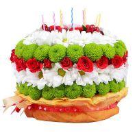 Flower cake - Composition: Rose shrub red ,Hipperikum red,Сhrysanthemum white,Сhrysanthemum green,Tape,Oasis,Candles.