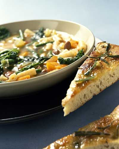 Italian vegetable soup with garlic rosemary bread