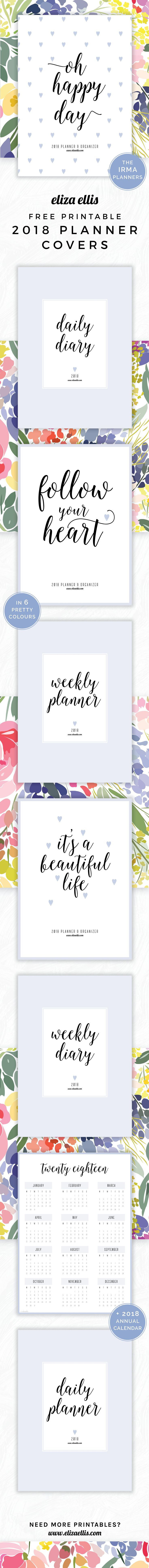Free Printable 2018 Irma Planner Covers and Annual Calendars in Dusk // Eliza Ellis. Awesome 2018 planner covers and annual calendars that are absolutely free - print to A4 or A5 and available in 6 colours. Great for work planners, DIY planners and diaries for work, home, SAHMs, WAHMs, students, college, university, teachers and mums!