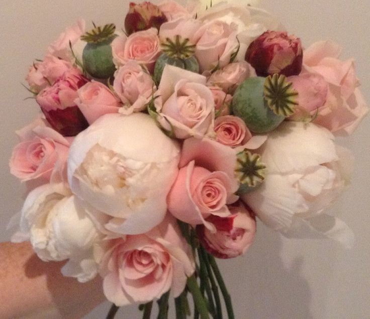 Rose, Peony and Poppy Bud Bouquet