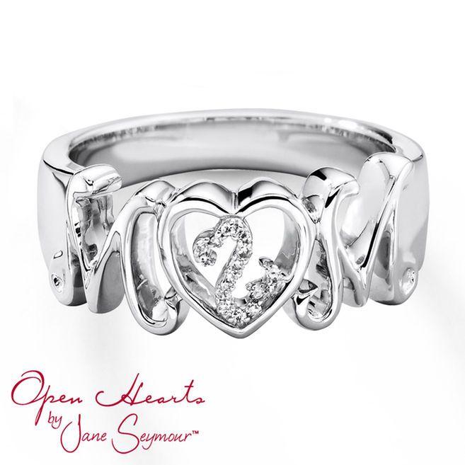 "Honor a mother in your life with this lovely ring for her from the Open Hearts by Jane Seymour® collection. The word ""Mom"" is styled in sterling silver with the iconic Open Hearts symbol decorated in round diamonds inside of the ""O."""