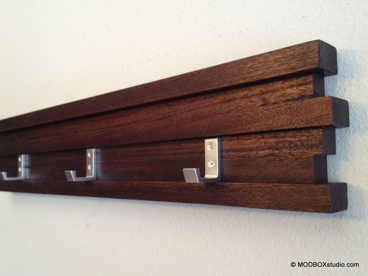 Minimalist Modern Coat Rack, Key Rack Coat Hook Hat Rack Dark Espresso Finish w/7 hooks. $57.00, via Etsy.
