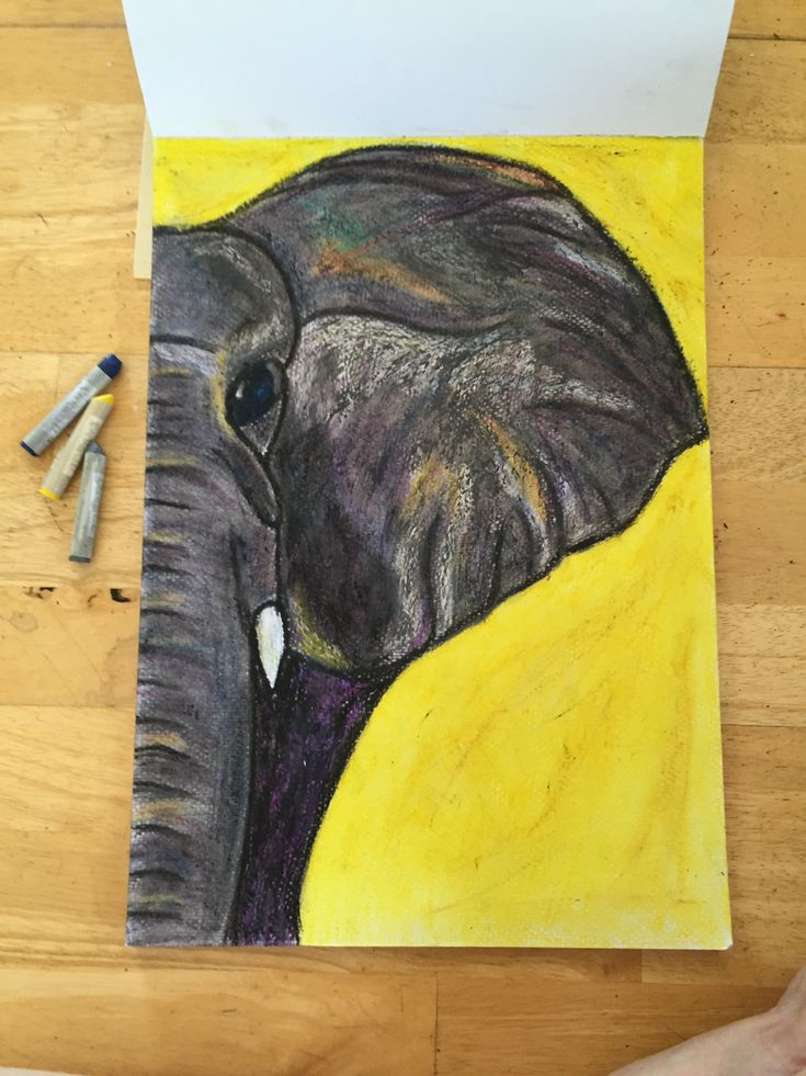 Oil pastel elephant. My very talented friend did this ♥