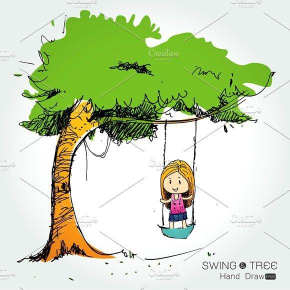tree with Cute Little Girl swinging #amusement #appeasement