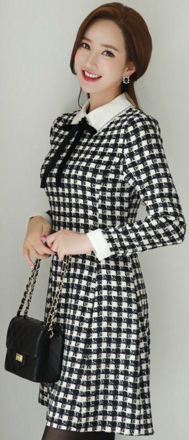 StyleOnme_Check Print Lace Collar Ribbon Tie Dress #check #cute #dress #koreanfashion #kstyle #kfashion #seoul #datelook #autumntrend