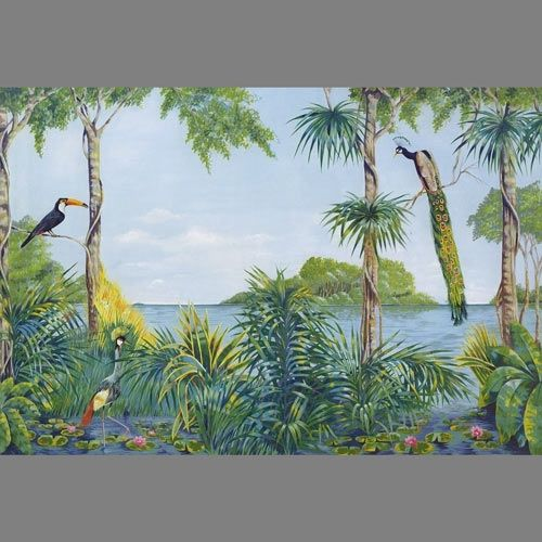 ... Lagoon Trompe loeil mural wallpaper, 8 part: 109  Animal wall murals
