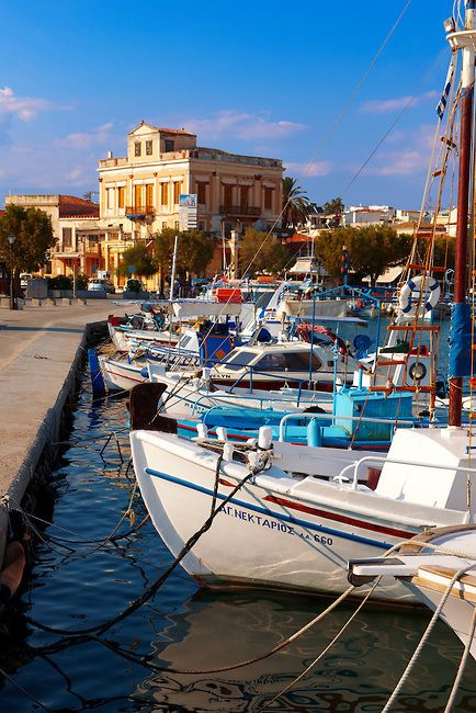 Local fishing boats in the port of Aegina, Greek Saronic Islands by Paul Williams