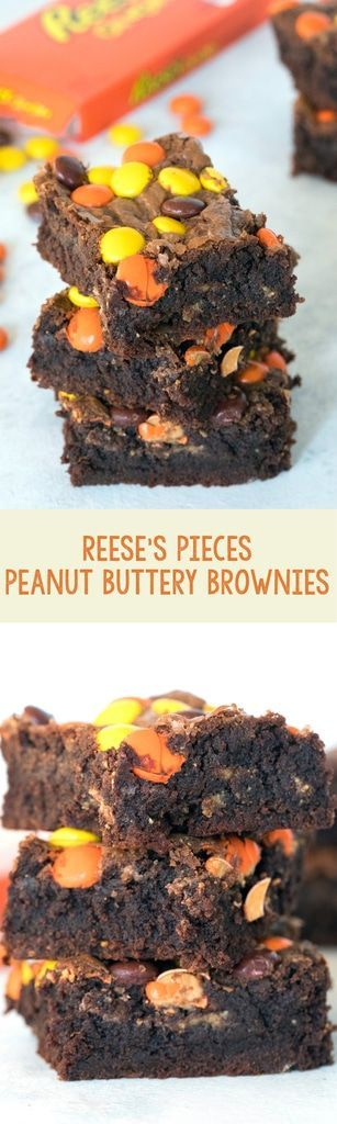 Reese's Pieces Peanut Buttery Brownies -- These brownies are packed with peanut butter, chocolate, Reese's Peanut Butter Cups, and Reese's Pieces. Peanut butter lovers, rejoice! | wearenotmartha.com #brownies #peanutbutter #chocolate #dessert #reeses