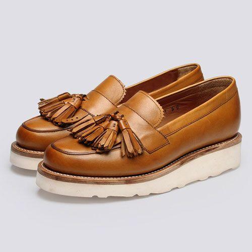 Grenson Shoes Clara Tassel Loafer Calf Leather White : SUNSETSTAR
