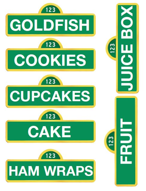Printable Sesame Street food signs...we could make these with the Cricut