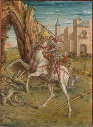 Carlo Crivelli -1490-1492 circa - Pala ottoni, predella 5, - San Giorgio che uccide il drago  Tecnicatempera e oro su tavola UbicazioneNational Gallery, Londra