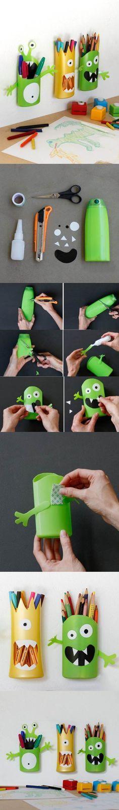 DIY Funny Pen Holder from Plastic Bottle | iCreativeIdeas.com Like Us on Facebook ==> https://www.facebook.com/icreativeideas