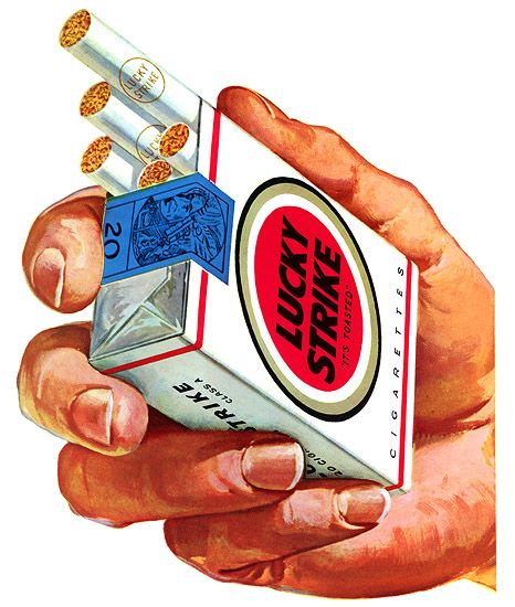 1950s Illustration :: Lucky Strike Cigarettes, 1959. Don't suppose I can put cigarettes on the book cover but the boys did smoke a lot.