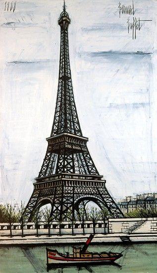 La tour Eiffel de Bernard BUFFET ( 1928 - 1999 ) - Peintre Français -