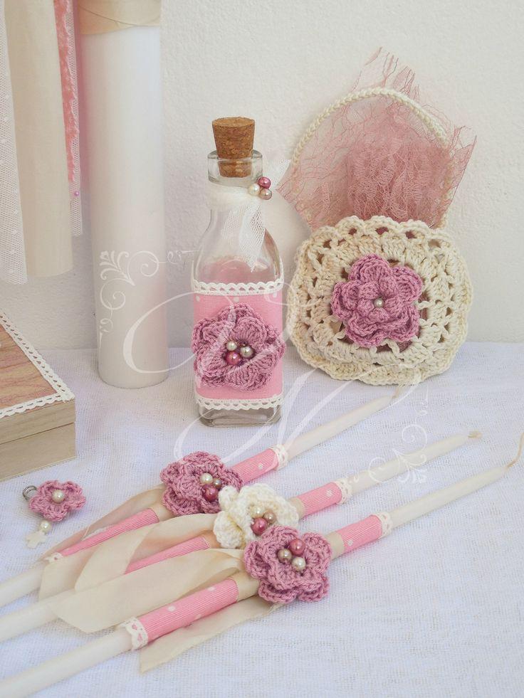 Λαδοσέτ βάπτισης στολισμένο με χειροποίητα πλεκτά λουλούδια και χειροποίητο τσαντάκι σαπουνιών  - Baptism oil set with handmade crochet flowers and handmade crochet purse for the soap