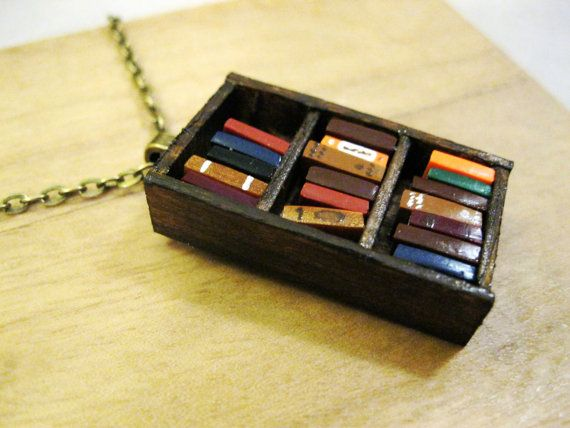 Antique Bookshelf Necklace  Book Jewelry by by Coryographies, £25.00