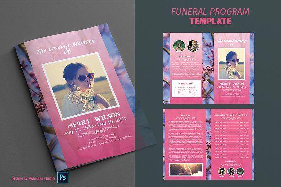 Funeral Program Template vol01 by Madhabi Studio on @creativemarket
