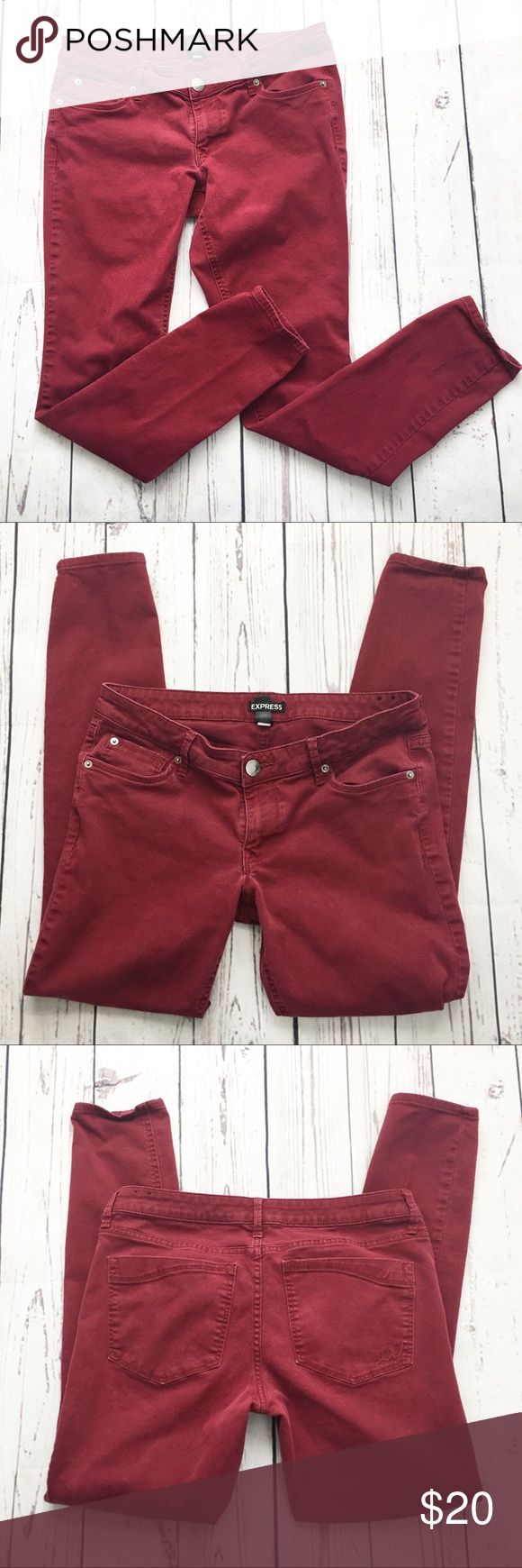 Express Maroon Skinny Jeans size 10 Dark red maroon express skinny jeans. Women's size 10. Stretchy Express Jeans Skinny