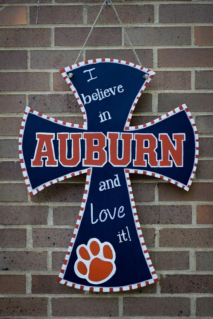 DIY painted cross Auburn University