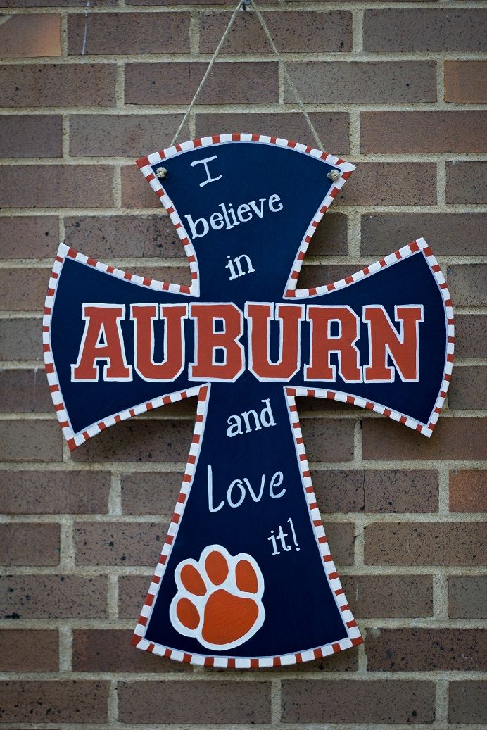 DIY painted cross Auburn University