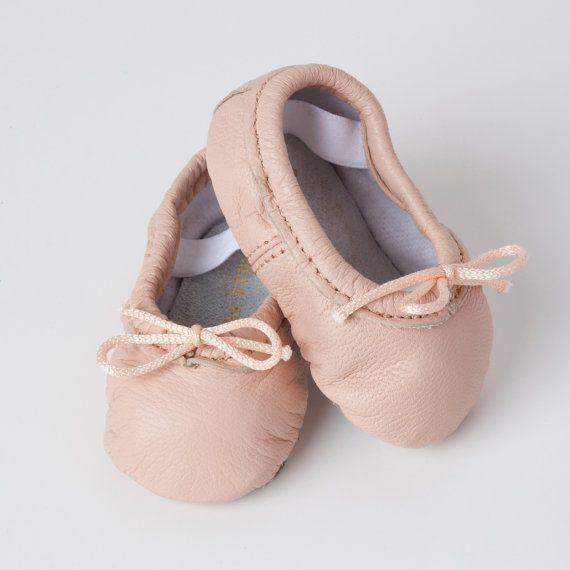 Baby Ballet Slippers  Pink  premie newborn by VintageStyleBabyShop
