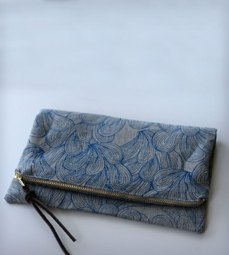 Palmiers Printed Foldover Clutch - Blue | Women's BAGS & ACCESSORIES | Jen Hewett Studio | Scoutmob Shoppe | Product Detail
