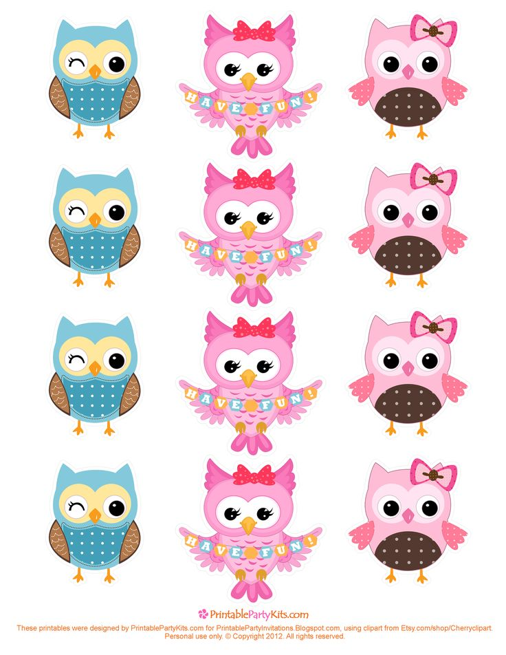 free owl printables | Free Printable Party Invitations: Free Owl Cupcake Toppers Template