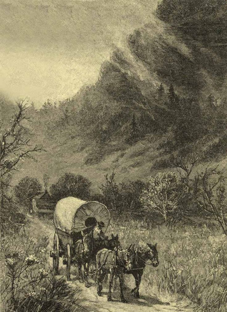 The Wilderness Road was the principal route used by settlers for more than fifty years to reach Kentucky from the East. In 1775, Daniel Boone blazed a trail for the Transylvania Company from Fort Chiswell in Virginia through the Cumberland Gap into central Kentucky. Library of Congress illustration.