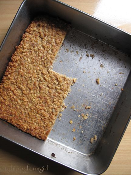 bannana oats bar - when banana's drop their price :) I have dozens of bananas frozen right now... this seems like a good way to use some of them up!