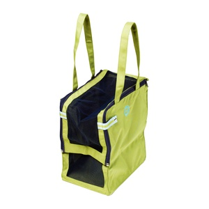Green Multipurpose Tote. This two-tone tote has style and versatility. Made from environmentally friendly plastic-bottle-based fabric, its light, sporty looks have a practical side as well— mesh sides and top for ventilation, removable mat and top for comfort and easy access, and pockets for holding keys and pet treats. This multipurpose tote keeps you looking good, even with your small pet—or beach supplies or groceries—in tow.