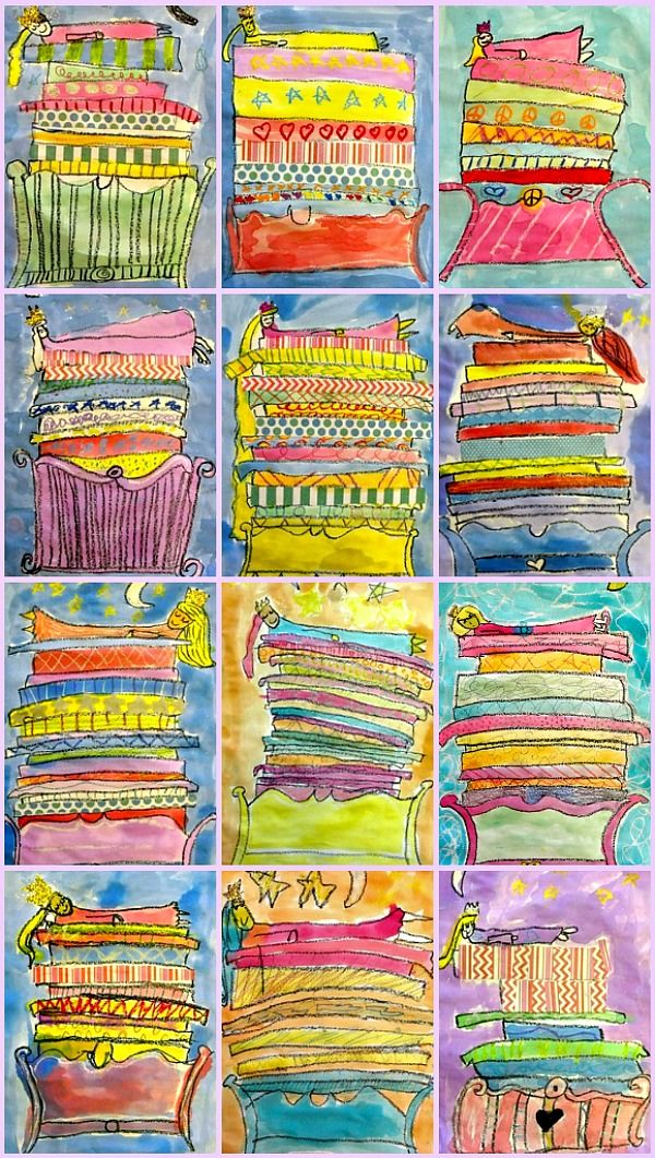 Great art project to go with the Princess and the Pea!