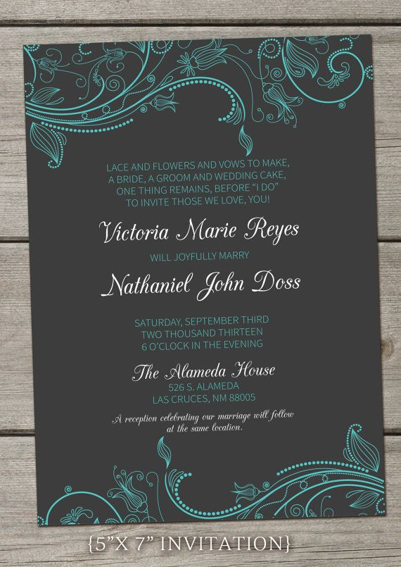 "The ""Victoria""   Fun Modern Wedding Invitation Package - Printable Digital Files - Tiffany Blue, Gray, Swirls, Floral, Simple Essential Set"