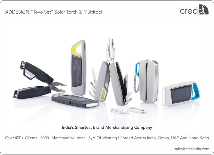 XDDESIGN Tovo set solar torch & multitool for corporates by Crea - India's smartest brand merchandising company.