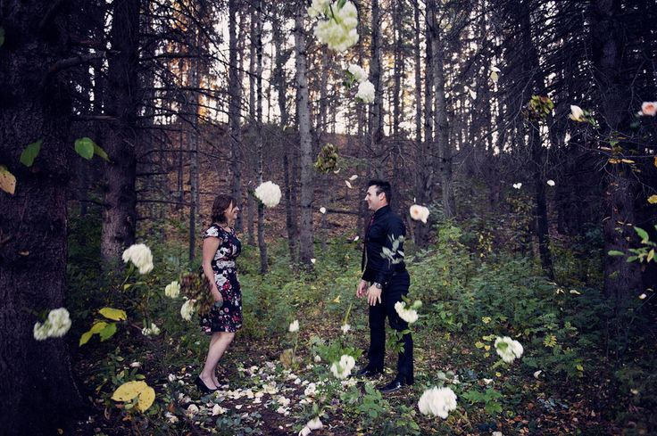 A Floral Engagement Shoot with a Dark Forest Theme   Shanna and Scott